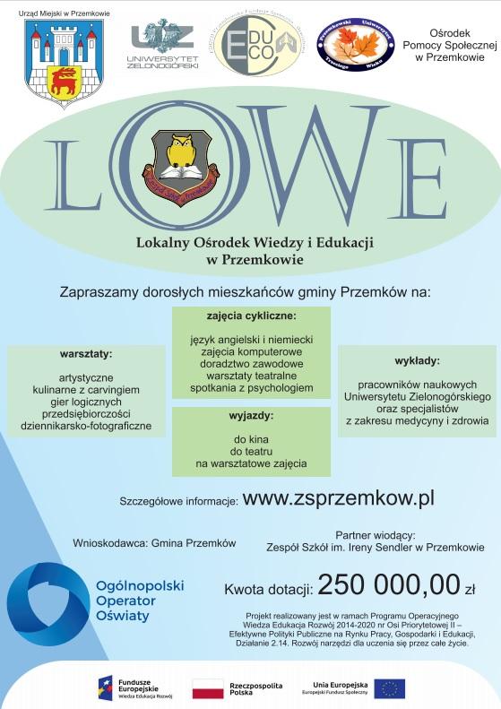 Lokalny Ośrodek Wiedzy i Edukacji w Przemkowie - plakat informacyjny