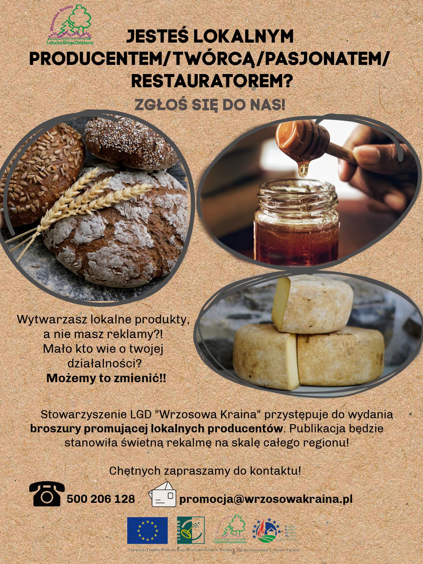 Plakat informacyjny dla lokalnych producentów, twórców, pasjonatów i restauratorów