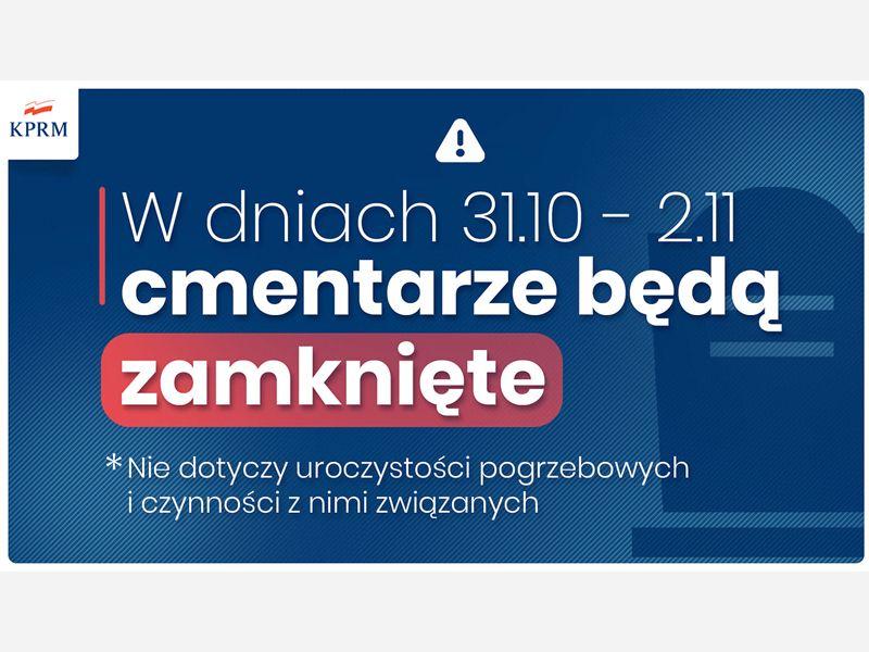 W dniach 31.10-2.11.2020 cmentarze będą zamknięte