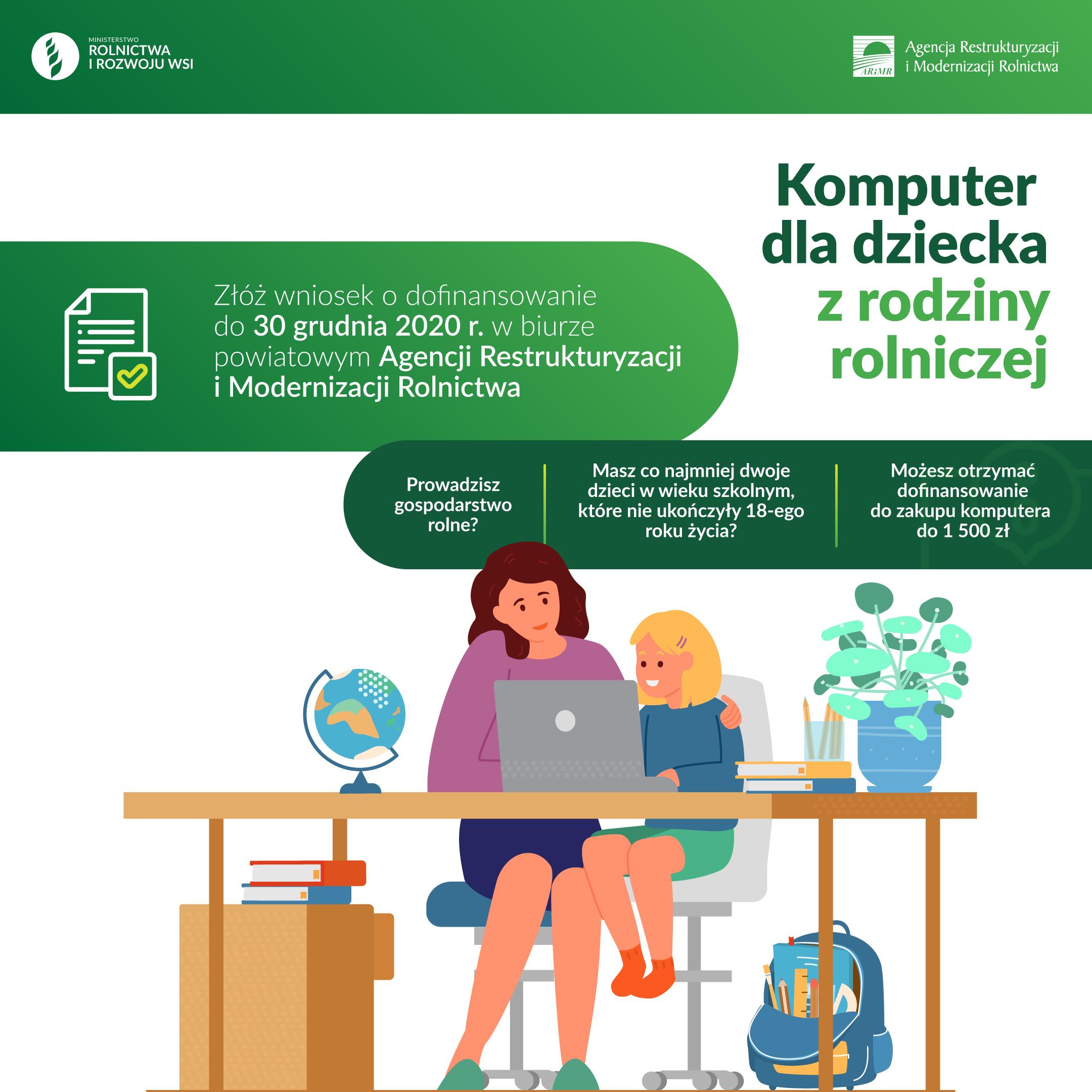 Pieniądze na zakup komputera dla dziecka z rodziny rolniczej